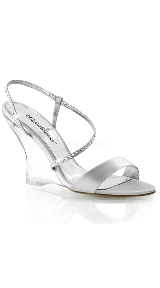 Clear Wedge Sling Back Sandals - Silver Satin/Clear