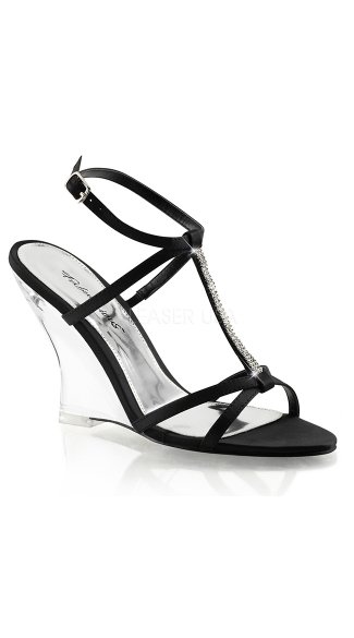 Metallic T-Strap Wedges - Black Satin/Clear