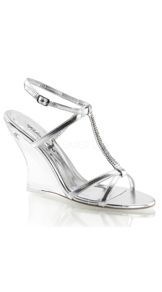 Metallic T-Strap Wedges - Silver Metallic Pu/Clear