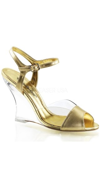 Metallic Ankle Strap Wedges - Clear-Gold Metallic Pu/Clear