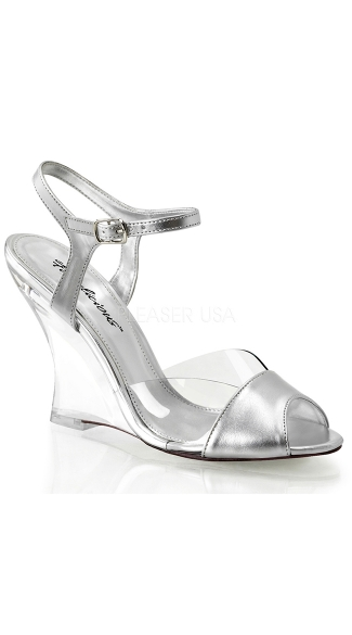 Metallic Ankle Strap Wedges - Clear-Silver Metallic Pu/Clear