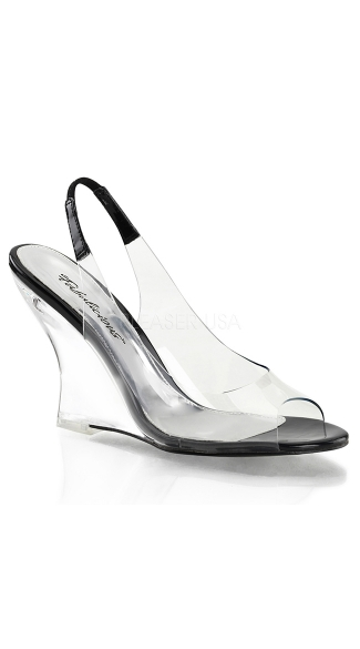 Clear Sling Back Wedge Sandals - Clear-black/Clear