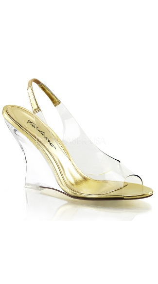 Clear Sling Back Wedge Sandals - Clear-Gold/Clear