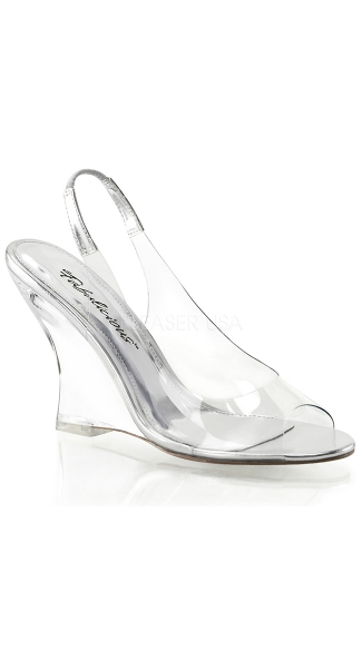 Clear Sling Back Wedge Sandals - Clear-silver/Clear