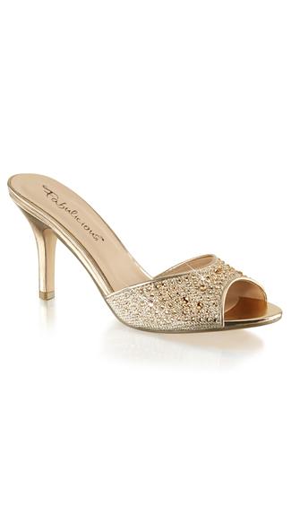 Rhinestone Embellished Slide Sandal - Gold Glitter Mesh Fabric