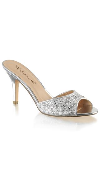 Rhinestone Embellished Slide Sandal - Silver Glitter Mesh Fabric