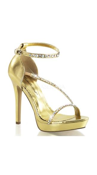 Metallic Rhinestone Strap Sandals - Gold Metallic Pu
