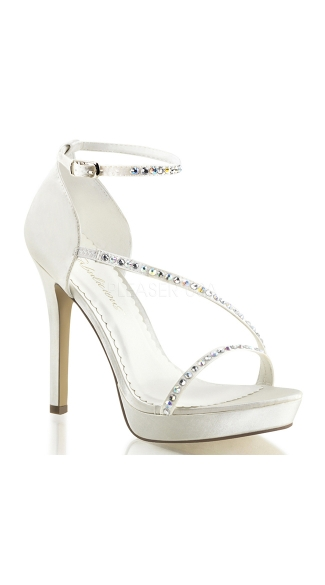 Metallic Rhinestone Strap Sandals - Ivory Satin