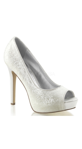 Glitter Peep Toe Pumps - Ivory Glitter