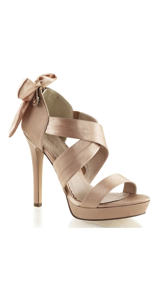 Satin Cross Strap Sandals - Blush Satin