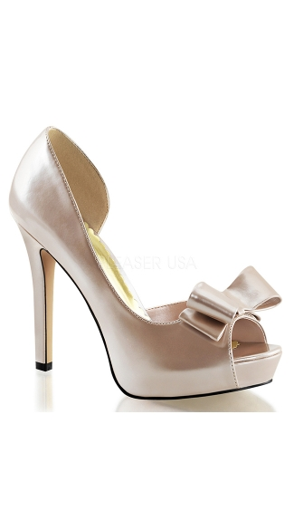 Peep Toe Pumps with Looped Bow - Champagne Pat