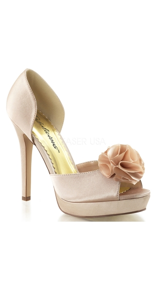 Satin Peep Toe Sandal with Flower Applique - Champagne Satin