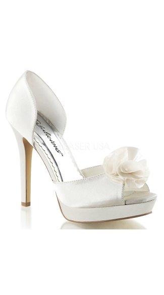 Satin Peep Toe Sandal with Flower Applique - Ivory Satin