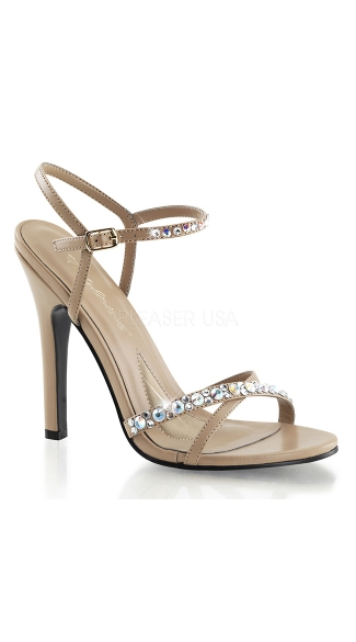 Nude Strappy Sandals with Rhinestones, Rhinestone Studded Sandals - Yandy.com