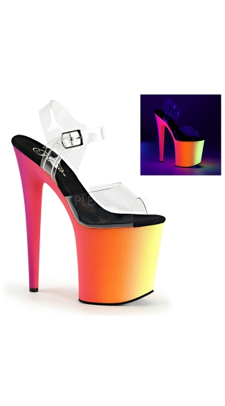 Clear 8 Inch Sandal with Neon Platform - Clear/Neon Multi