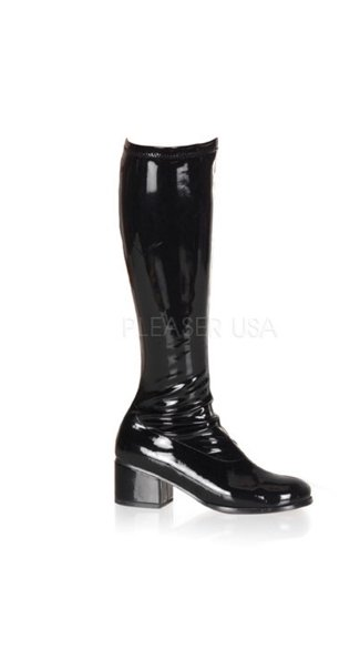Retro GoGo Boots - Stretch Black Patent