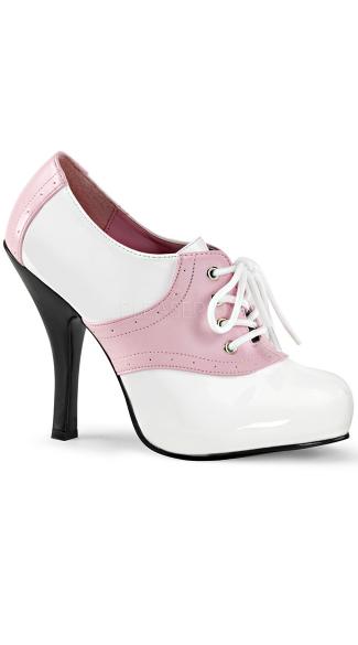 4 1/2 Inch Saddle Shoe - Baby Pink-White Pat