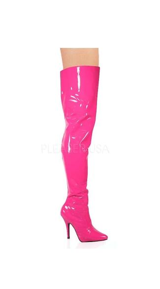 Seduce Zip Up Thigh Boots - Hot Pink Patent
