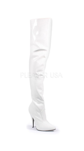 Seduce Zip Up Thigh Boots - White Patent