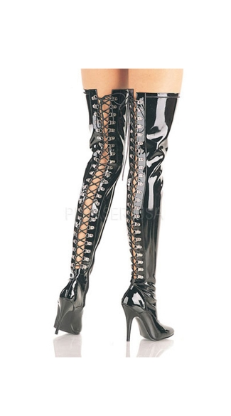 "5"" Heel Open Back Boot, 5 Inch Open Back D-Ring Black Thigh High Boot, Dominatrix Thigh High Boot"