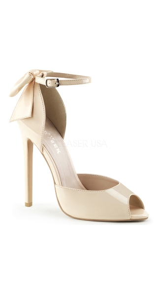Peep Toe Pumps with Ankle Strap and Bow - Nude Pat