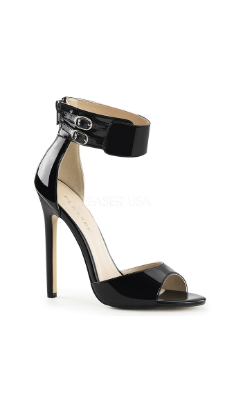 Double Buckle Ankle Strap Sandals, Zip Up Sandals