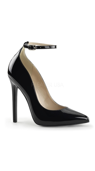Black Pointed Toe Pump With Ankle Strap, Black Pumps