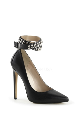 Black Pumps with Studded Ankle Strap - as shown