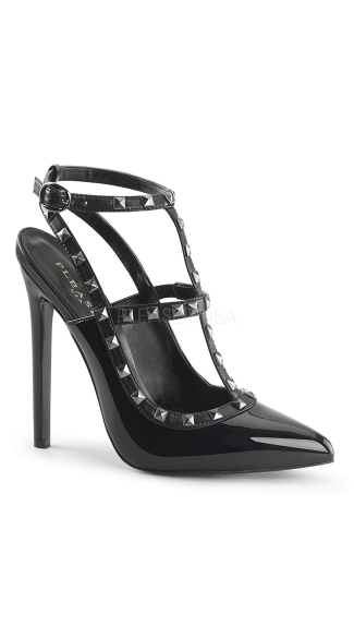 Studded Desire Pointy Stiletto Pump, Sexy Slingback Heel with Studs, Strappy Studded 5 Inch High Heel - Yandy.com