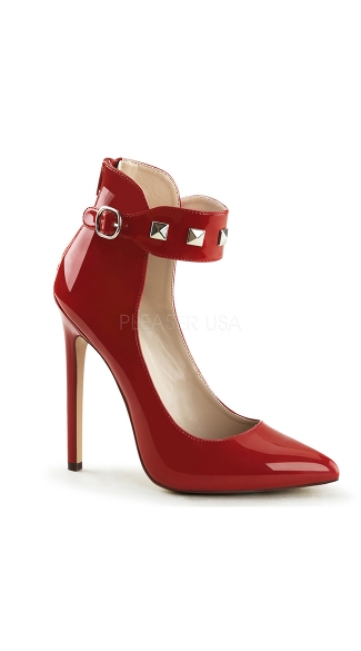 A Studded Affair 5 Inch Stiletto Pump - Red Pat