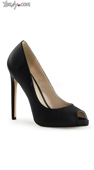 Secretarial Seduction Peep Toe Pump - Black Leather