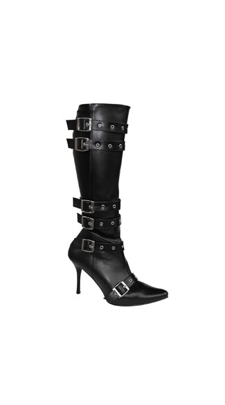 Tightly Buckled Biker Babe Boot, 3.75 Inch Stiletto Heel Six Buckle Boot, Sexy Black Stiletto Buckle Boot - Yandy.com
