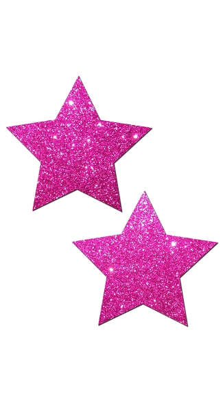 Hot Pink Glittering Star Pasties - Pink