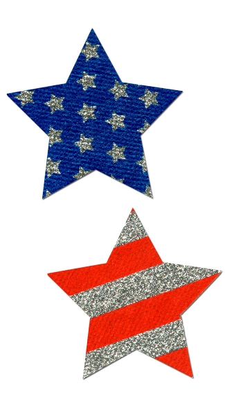 Glitter Stars and Stripes Pasties - Red/White/Blue