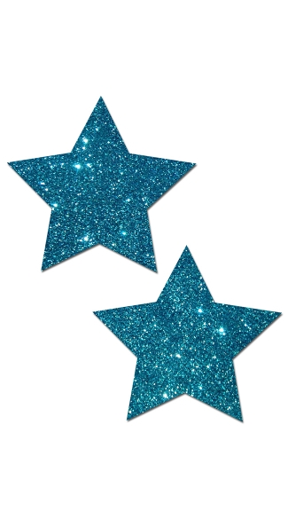 Teal Glittering Star Pasties - Blue