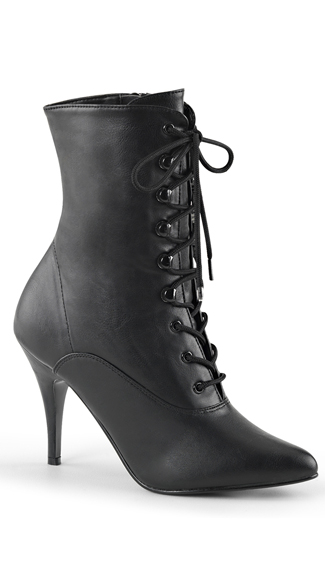 4 Inch Lace-Up Ankle Boot with Side Zip - Black Faux Leather