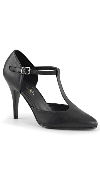 4 Inch T-strap D'orsay Style Pump - as shown