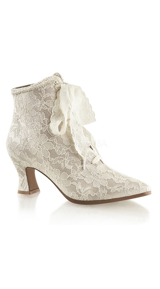 Lace Costume Booties - Champaign Satin-Lace