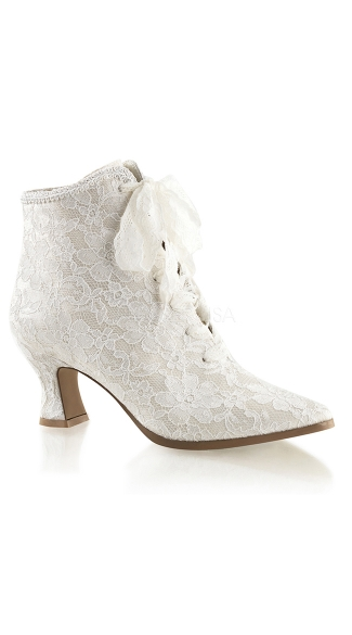 Lace Costume Booties, White Lace Booties