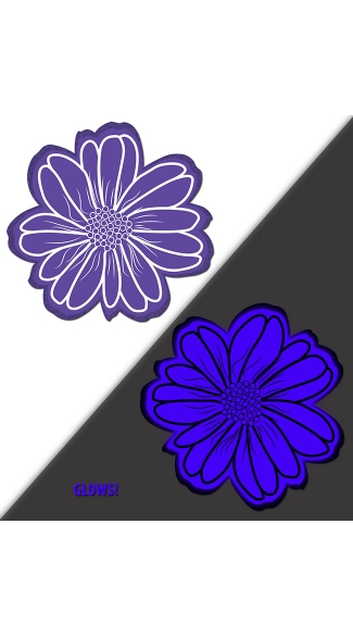 Purple Glow In The Dark Flower Pasties - Purple