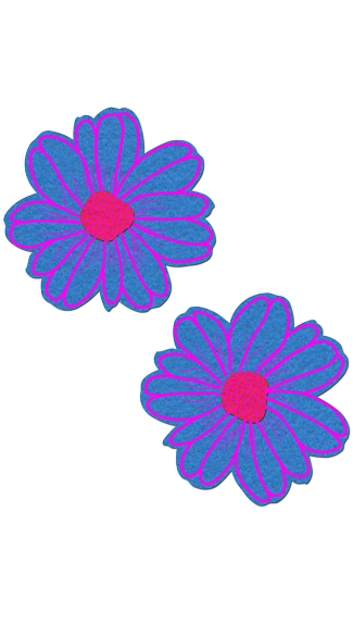 Turquoise And Pink Flower Pasties, Turquoise Pasties, Flower Nipple Pasties