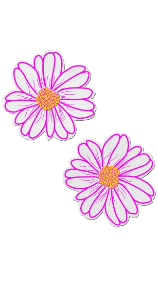 Pink And Yellow Flower Pasties, Pink and Yellow Nipple Pasties, Flower Nipple Pasties