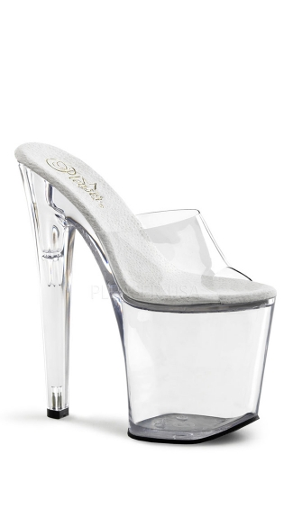 "8"" Clear Xtreme Heel, 8\"" Clear Heel- Xtreme-801, 8 Inch Xtreme Spike Heel Clear Platform Sandal, Extreme Tall Spike Heel - Yandy.com"