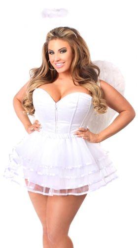 fa0448925 Plus Size White Angel Corset Costume