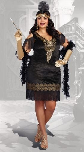 Superior Plus Size Swanky Flapper Costume