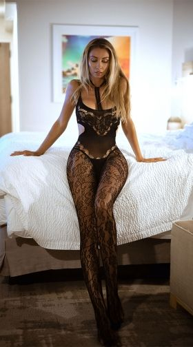 17309d919 Floral Lace Choker Bodystocking