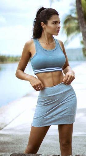 31597547a Yandy Striped Jersey Sports Bra