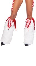 Jingle Bell Legwarmers - White/Red