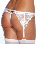Plus Size Sexy French Lace Garter Belt - White