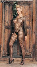 Ring Net Bodystocking - Black